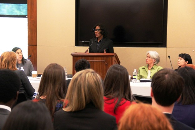 Patrice Harris, MD, Director of Health Services for Fulton County, Georgia and co-chair of Big Cities Health Coalition (BCHC) addresses Congressional audience. (Also shown (L-R): Julie Morita, MD, Commissioner of the Chicago Department of Public Health; Shelley Hearne, DrPH, Director, BCHC; Wendy Chung, MD, Chief Epidemiologist at Dallas County Department for Health and Human Services)